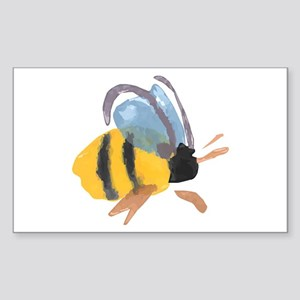 Bee - Watercolor Rectangle Sticker