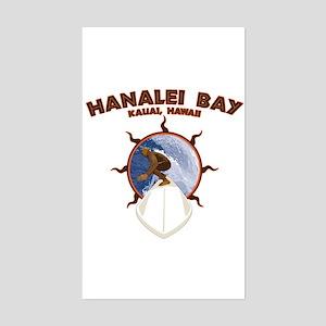 hanalei bay hawaii Rectangle Sticker