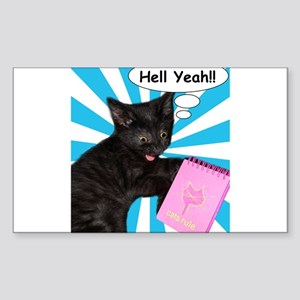 Hippy Kitty Hell Yeah!! Cats Rule Sticker (Rectang