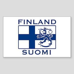 Finland Suomi Flag Rectangle Sticker