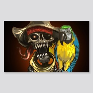 J Rowe Pirate and Parrot Black Background Sticker