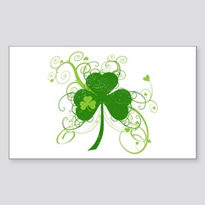 St Paddys Day Fancy Shamrock Sticker (Rectangle)