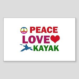 Peace Love Kayak Designs Sticker (Rectangle)