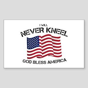I will never kneel God Bless America Flag Sticker