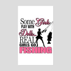 Real Girls Go Fishing Rectangle Sticker