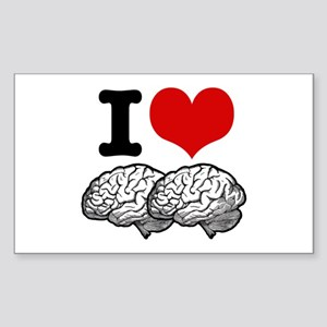 I Love Brains Rectangle Sticker