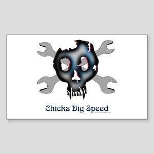 Chicks dig speed Rectangle Sticker