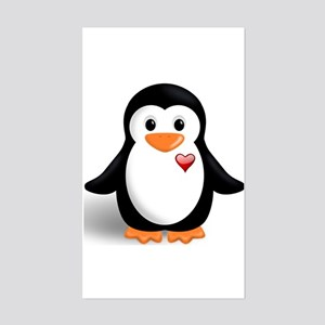penguin with heart Sticker (Rectangle)