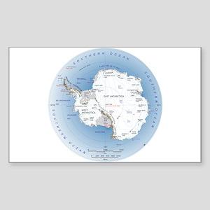 Map Antarctica Sticker (Rectangle)