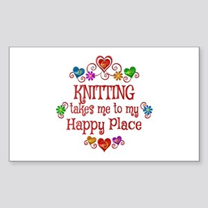 Knitting Happy Place Sticker (Rectangle)