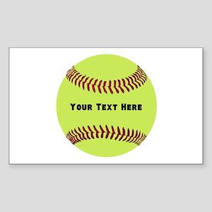 Customize Softball Name Sticker (Rectangle)