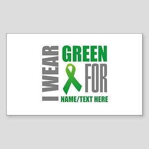 Green Awareness Ribbon Customi Sticker (Rectangle)