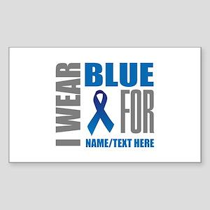 Blue Awareness Ribbon Customiz Sticker (Rectangle)