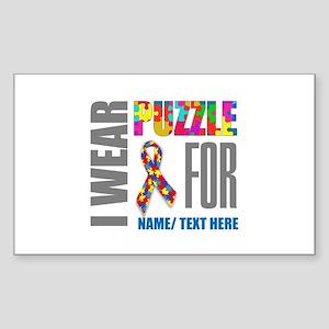 Autism Awareness Ribbon Custom Sticker (Rectangle)