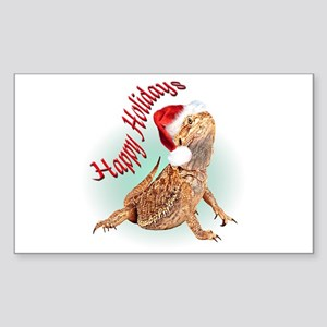 Bearded Dragon Santa Rectangle Sticker