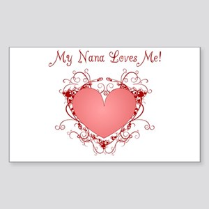 My Nana Loves Me Heart Rectangle Sticker