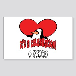 6th Celebration Rectangle Sticker