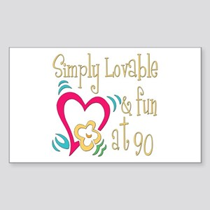 Lovable 90th Rectangle Sticker
