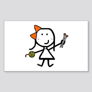 Girl & Knitting Rectangle Sticker