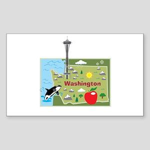 Washington Map Rectangle Sticker