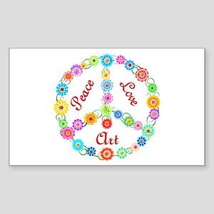 Peace Love Art Sticker (Rectangle)