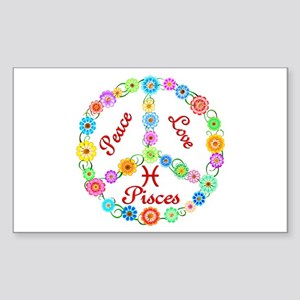 Peace Love Pisces Sticker (Rectangle)