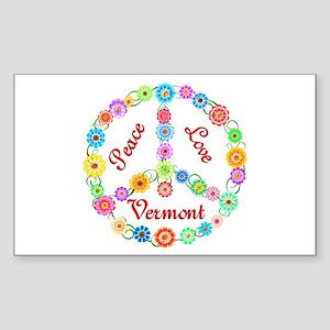 Peace Love Vermont Sticker (Rectangle)