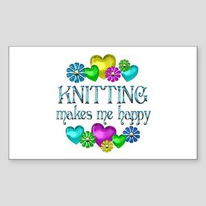 Knitting Happiness Sticker (Rectangle)