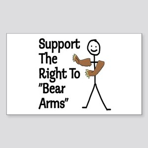 """Support The Right to """"Bear Arms"""" Sticker (Rectangl"""