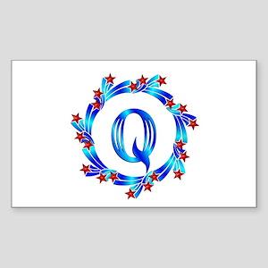 Blue Letter Q Monogram Sticker (Rectangle)