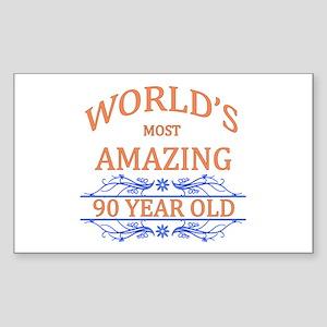 World's Most Amazing 90 Year O Sticker (Rectangle)