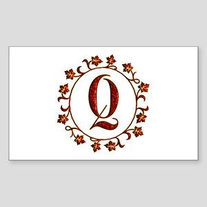 Letter Q Monogram Sticker (Rectangle)