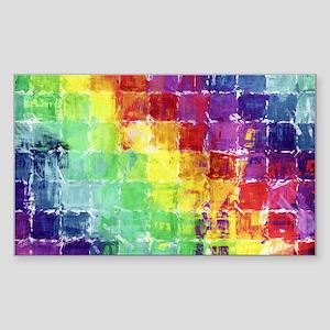 Geometric Squares Watercolor Sticker (Rectangle)