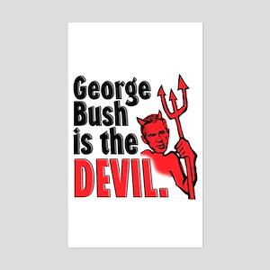 BUSH IS THE DEVIL Rectangle Sticker