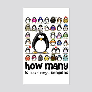 too many penguins Rectangle Sticker