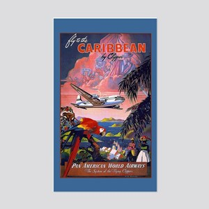 Fly to Caribbean Luggage Sticker (Rectangle)