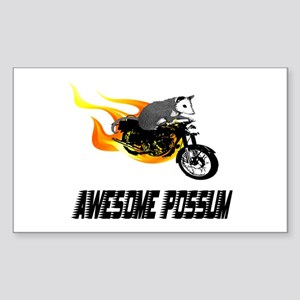 Flaming Awesome Possum Rectangle Sticker