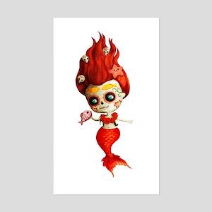 Dia de Los Muertos Mermaid Girl Sticker