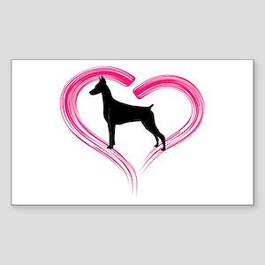 Heart My Doberman Sticker (Rectangle)