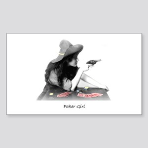 poker girl Rectangle Sticker