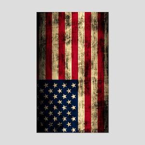 American Flag Grunge Sticker (Rectangle)