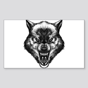 Angry wolf Sticker (Rectangle)