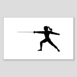 Girl Fencer Lunging Sticker (Rectangle)