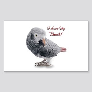 African Grey Parrot Holiday Sticker (Rectangle)