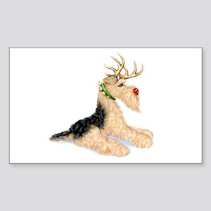 Airedale Christmas Dale Deer Rectangle Sticker