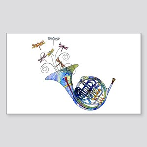 Wild French Horn Sticker (Rectangle)