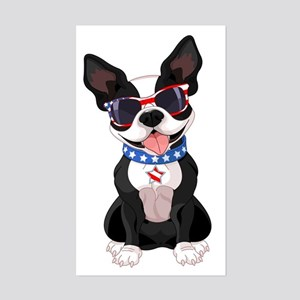 Patriotic Boston Terrier Sticker (Rectangle)