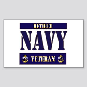 Retired Navy Veteran Rectangle Sticker