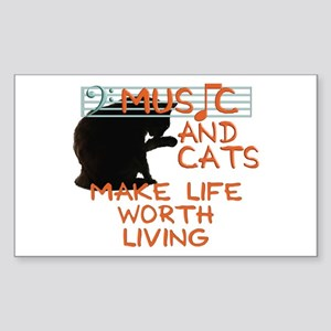 music and cats Sticker (Rectangle)
