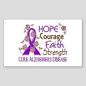 Hope Courage Faith Alzheimers Sticker (Rectangle)